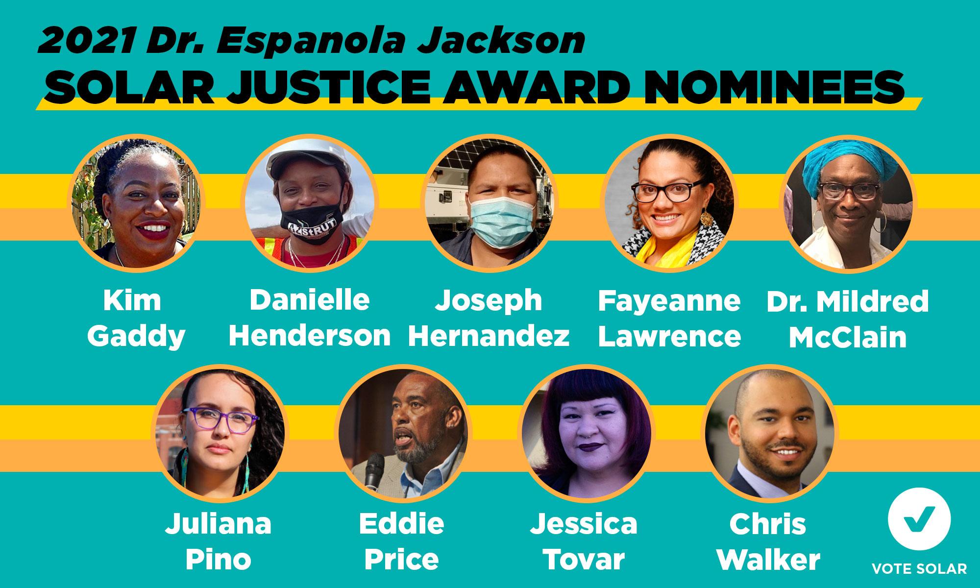 Meet the 2021 Dr. Espanola Jackson Solar Justice Award Nominees