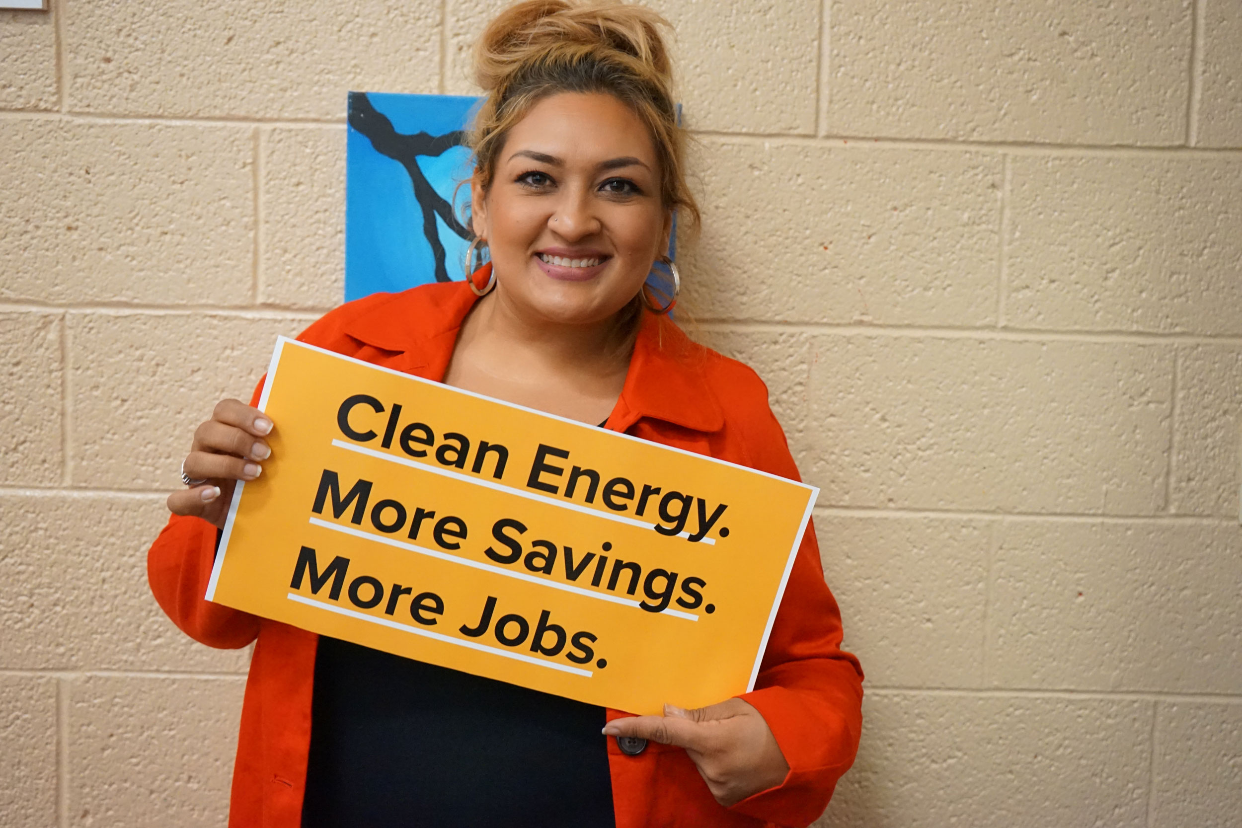 Ana Loaiza shows off her clean energy pride