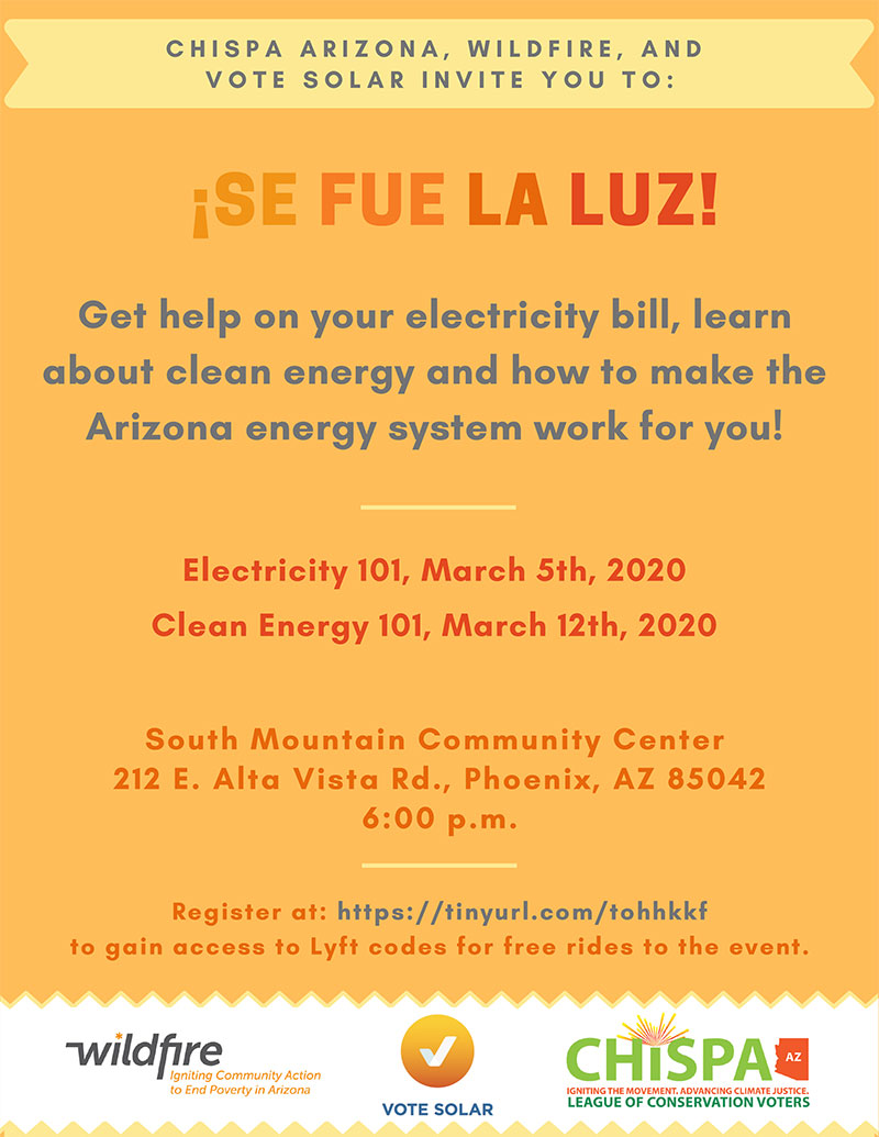 ¡Se Fue la Luz! Join Arizona Clean Energy Workshops in March