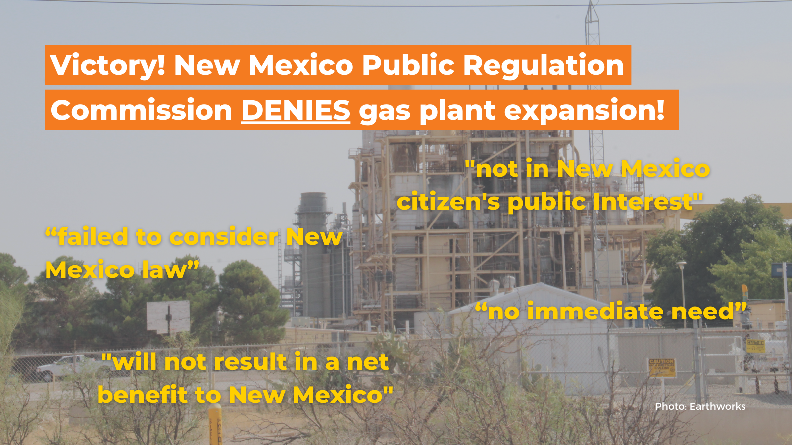 NM Public Regulation Commission denies EPE's proposed gas plant expansion