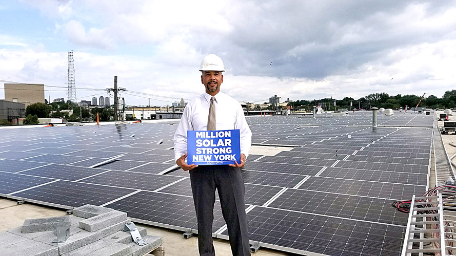 Bronx Borough President Ruben Diaz Jr. with our Million Solar Strong NY Coalition in 2019