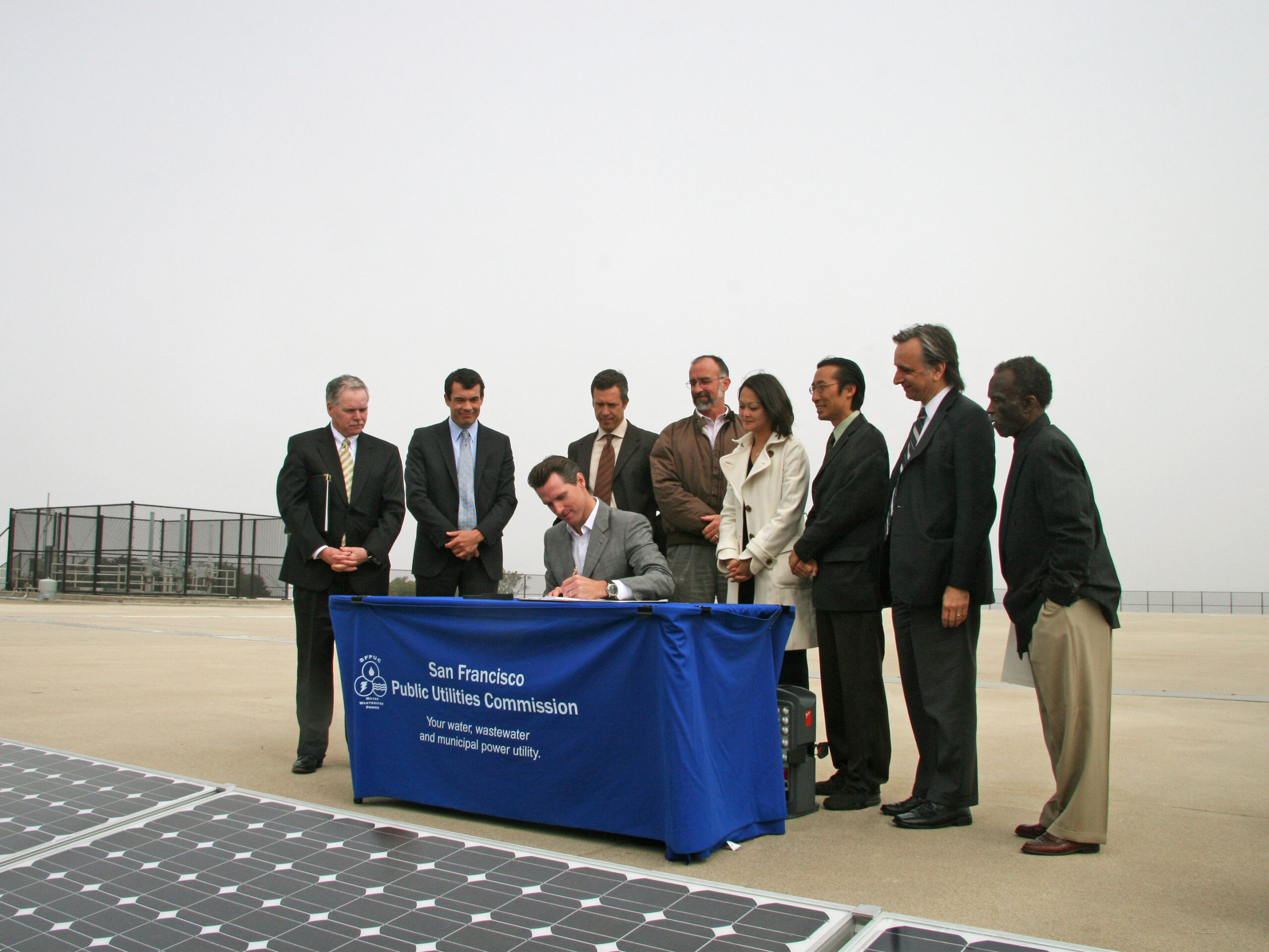 Adam at the San Francisco Public Utilities Commission Signing in 2009, commissioning of the Sunset Reservoir Solar Project, one of the largest municipal solar projects of its time.