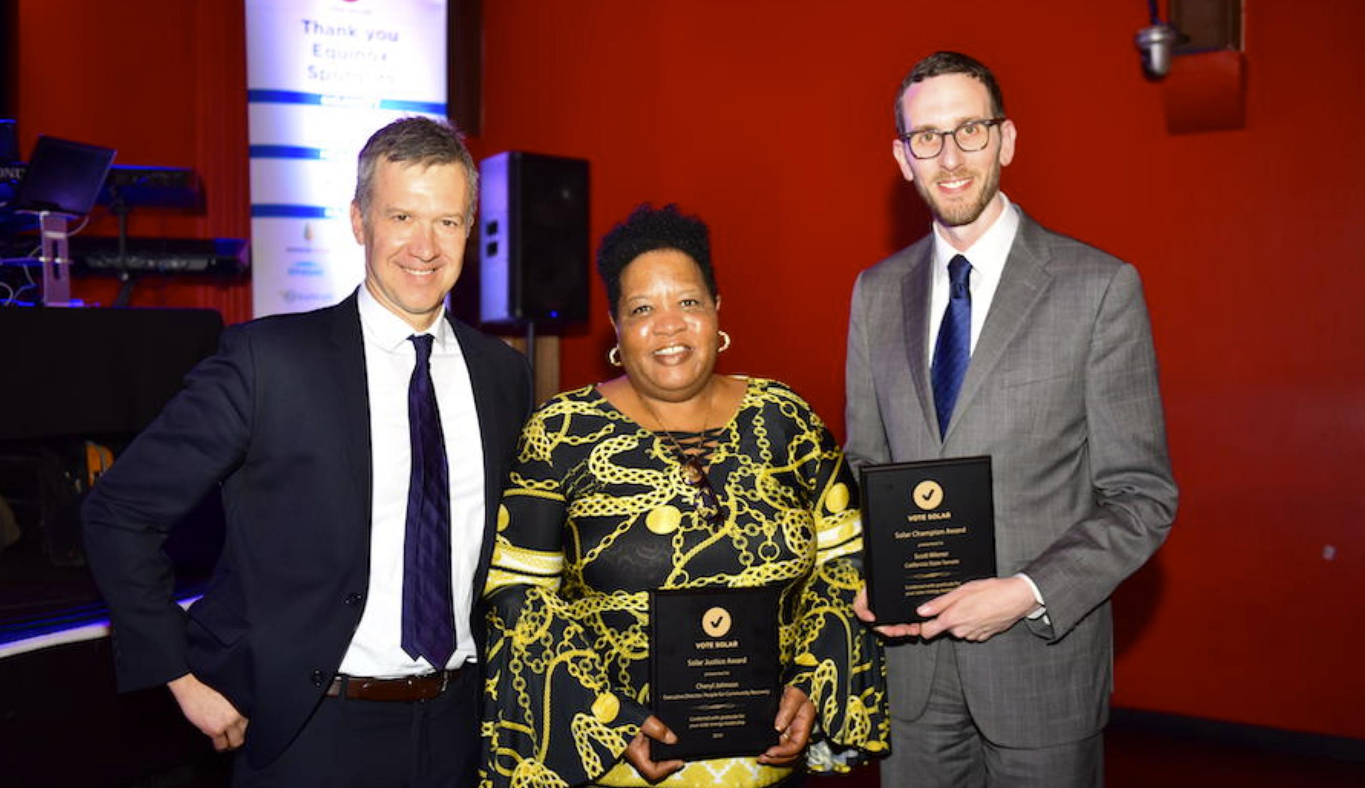 Adam with Vote Solar's 2018 Solar Justice Award Honoree Cheryl Johnson and Solar Champion Award Honoree California State Senator Scott Wiener